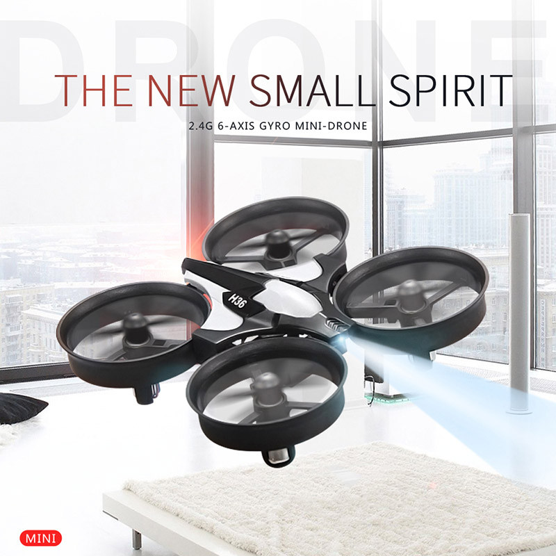 Mini Drone H36 RC Quadcopter 2.4G 6-Axis Gyro 4 Channels LED Headless Mode One Key Return RC Helicopters Dron JJRC Pocket Drones