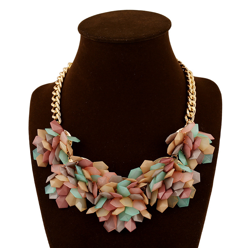 Fashionable popular necklaces colorful jelly exaggerate special mix color big created gemstone womenschunky flower necklaces(China (Mainland))