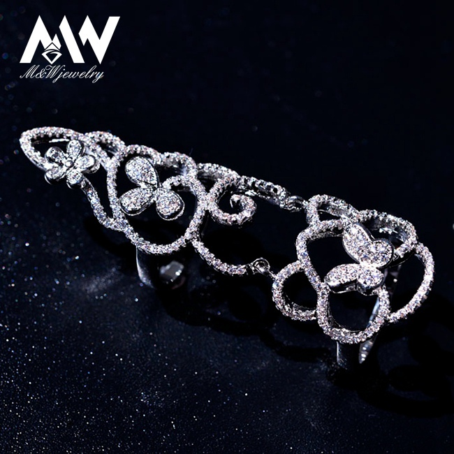Top Quality Cubic Zircon Crystal Butterfly Platinum White Gold Plated Full Finger Joint Knuckle Ring Female Jewelry(China (Mainland))
