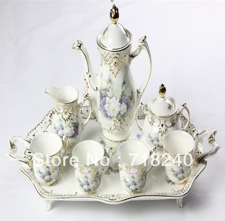 Free Shipping 8PCS Bone China TEA COFFEE SET PORCELAIN DINNER SET TABLEWARE CREAMIC KICTHEN WARE SET