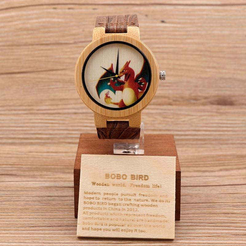 БОБО ПТИЦА E10 Мужская Пекинская Опера Красочные Лица Дизайн Бренда Роскошный Деревянный Бамбука Часы С Натуральной Кожи Полос Для Подарка