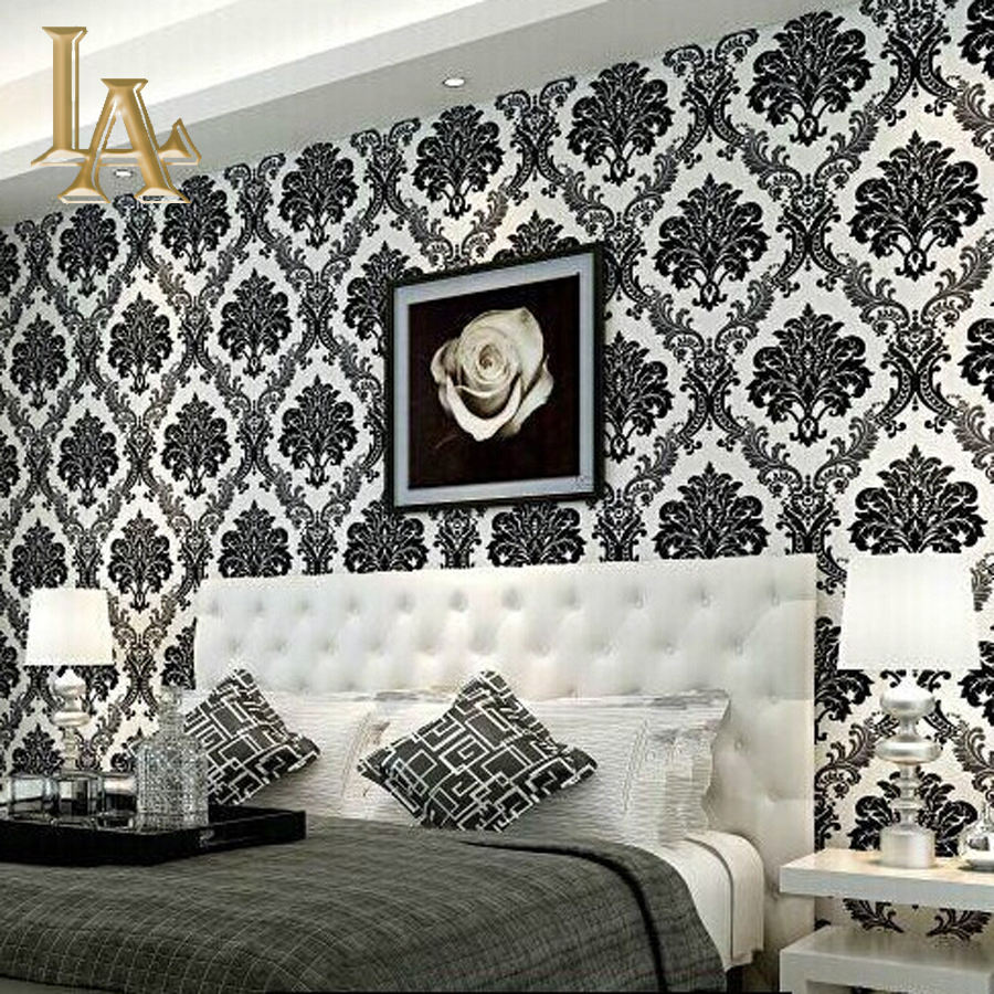 European embossed flocking black damask wallpaper 3d for Luxury home accessories online