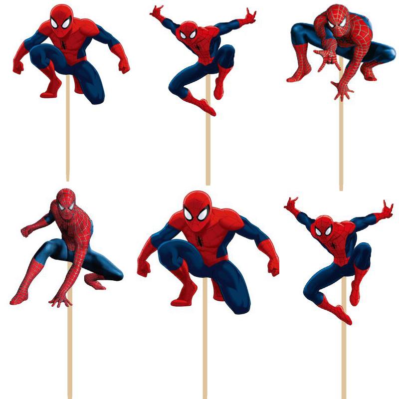 24pcs/lot Super hero Spiderman cupcake topper picks boy children party decoration Kid's birthday party decoration supplies(China (Mainland))