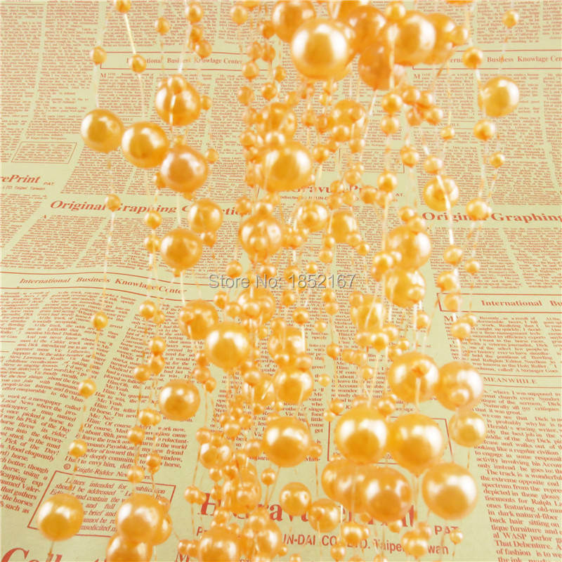 8mm Orange Pearl Beads Garland Strands On Wire Rope Chain DIY Wedding Party Centerpiece Decoration(China (Mainland))