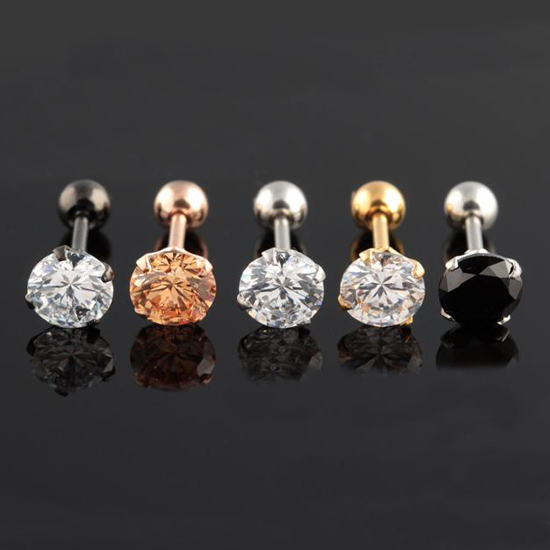 New Coming Medical Titanium Steel Allergy Earrings White Zircon Ear Bone Nail Stud Earrings 1Pc/Price CCE777(China (Mainland))