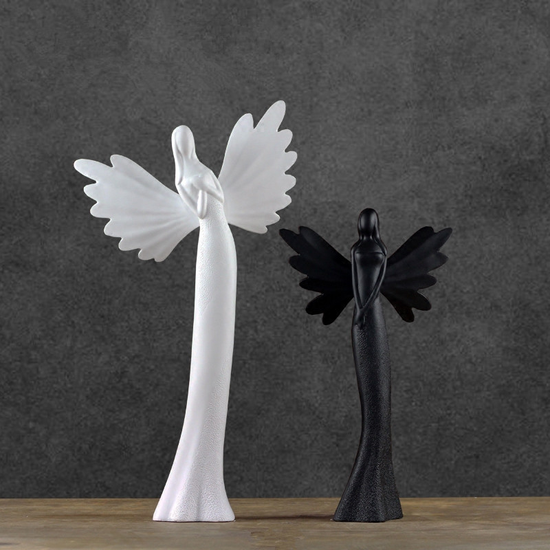 Modern simple angel figurine ornament living room home decortion ornament matt finished black and white sculpture crafts(China (Mainland))