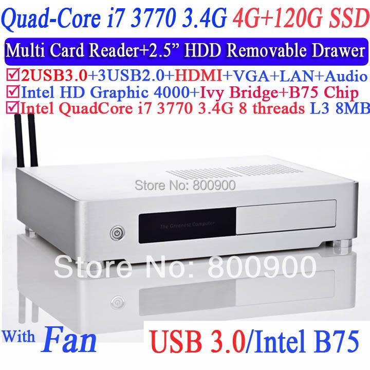 Top Spec Mini PC mini computer with Intel quad core i7 3770 3.4Ghz 8 threads L3 8MB Aluminum 2.5 inch HDD drawer 4G RAM 120G SSD<br><br>Aliexpress