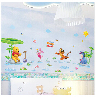 Pooh tree Animal Cartoon Vinyl Waterpark Wall stickers for kids rooms decor DIY Child Wallpaper Art Decals 3D House Decoration(China (Mainland))