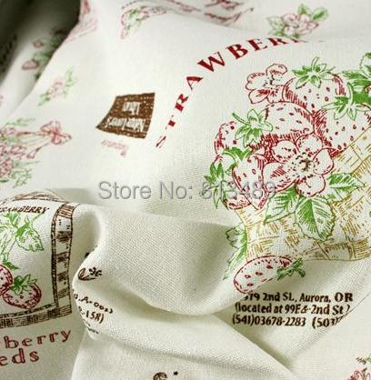 Wild Strawberry Wholesale sewing material best fabric for curtains linen floral fabric 5 meters Nature Lover's free shipp S2752(China (Mainland))
