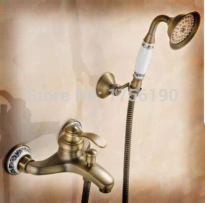 Blue&White Porcelain Antique Brass Bath Shower Faucet Set Exposed Hand Shower Set Bathroom Wall Mounted Shower Valve Set SJ-01(China (Mainland))