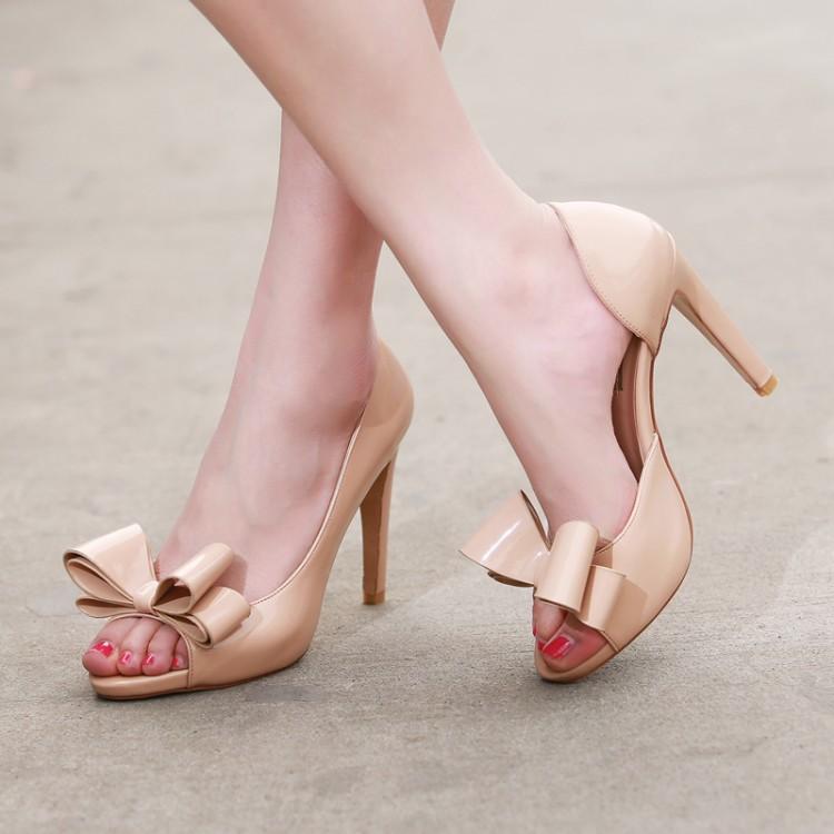 2015 Ladies Elegant Bow Sandals Genuine Leather Open Toe Cutout Color OL Female Sweet Red Blue Black Nude High Heels - HangZhou LongYuan Trade Co., Ltd. store