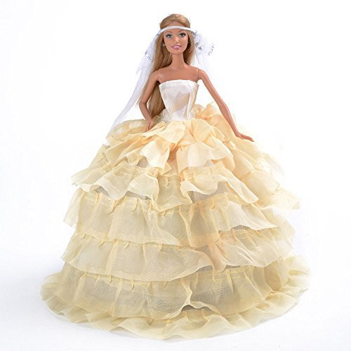 Lengthy Robe with Layers of Ruffle Particulars Tender Yellow Made to Match for the Barbie Doll