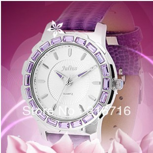 Free Shipping Famous Brand JULIUS Quartz Women's Watch,Crocodile Pattern Leather Watchband,Luxury Fashion Crystal Round JA-493