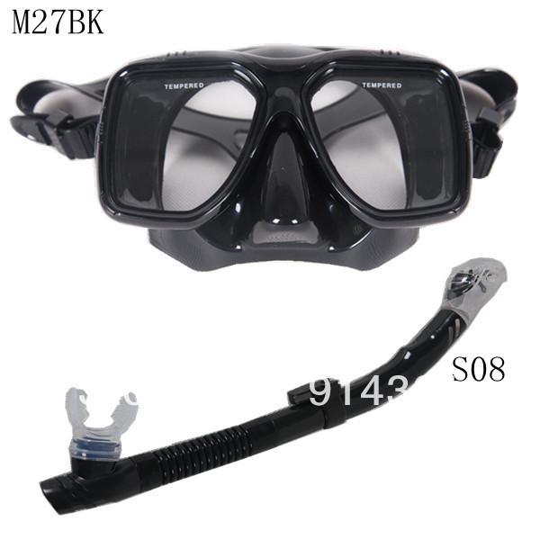 Scuba Diving Snorkeling Silicone Mask Set(Black) M27BK-S08