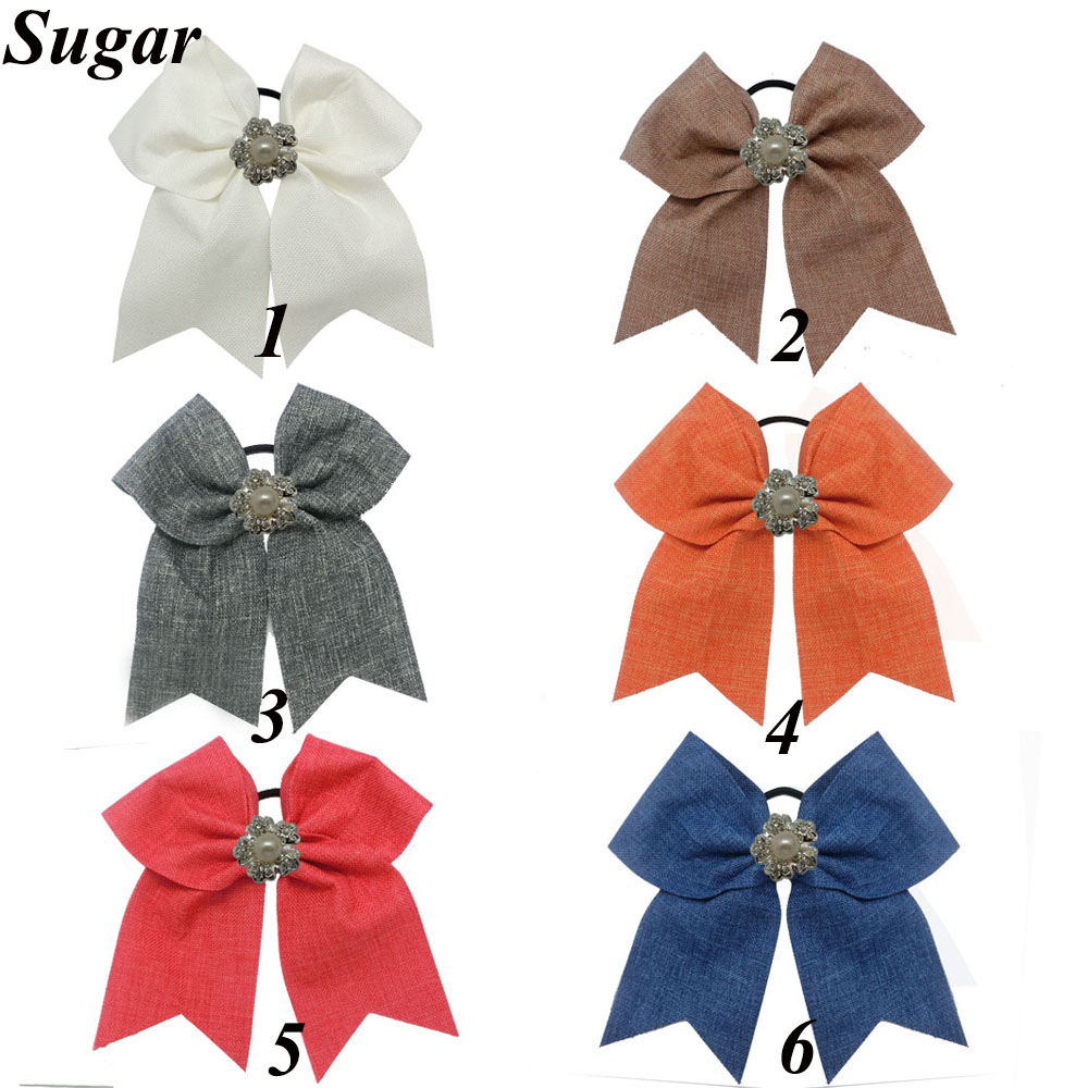 7 New Style Fabric Large Cheer Bow For Children Girls Cheerleading Bow Elastic Hair Band Pearl Hair Accessories Одежда и ак�е��уары<br><br><br>Aliexpress