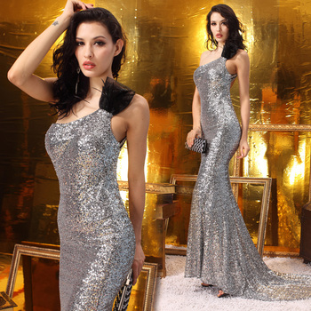 New Design Ladies/Women Mermaid Evening Dress Silvery,   Sequin Backless Formal Long Dresses With Train JM07572--Free Shipping