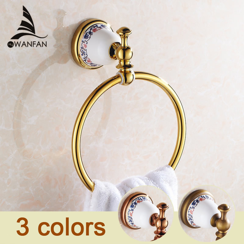 Free Shipping Luxury Golden Polished Bathroom Towel Ring Rack Ceramics Towel Holder Euro Style Wall Mounted XL-3307(China (Mainland))