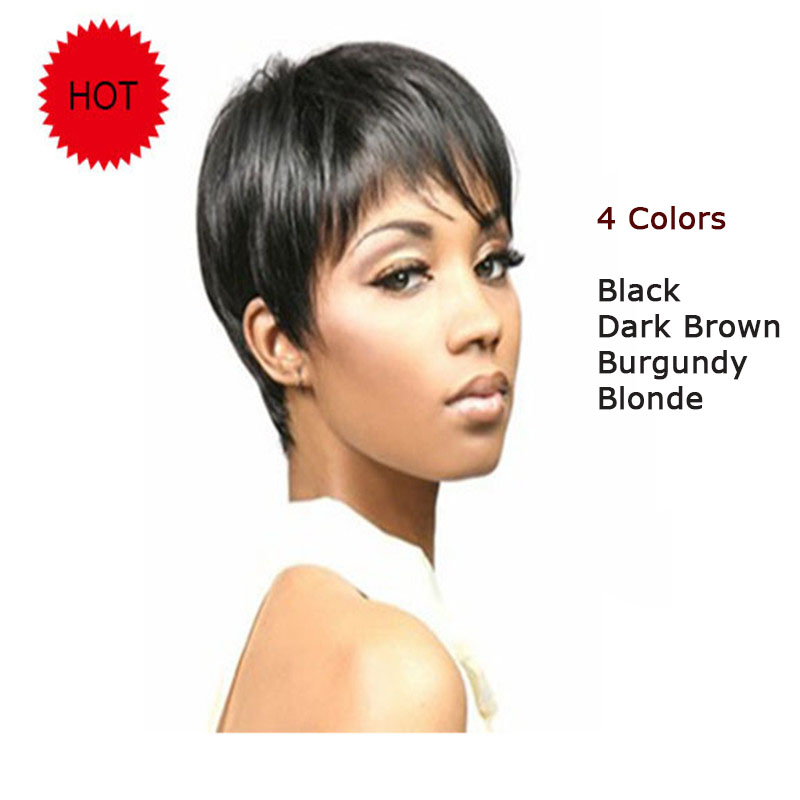 4 Colors Fashion Synthetic Short Black Wigs Africans Women Brown Blonde Burgundy Pixie Cut Wig Natural Hair - Your Styles Coser store
