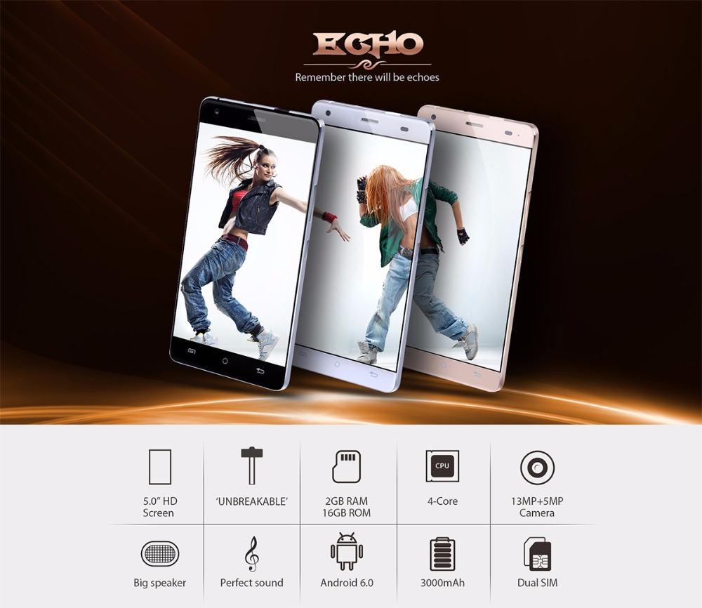 image for CUBOT ECHO 5.0 Inch 3000mAh Unlocked Smartphone Android 6.0 Cell Phone