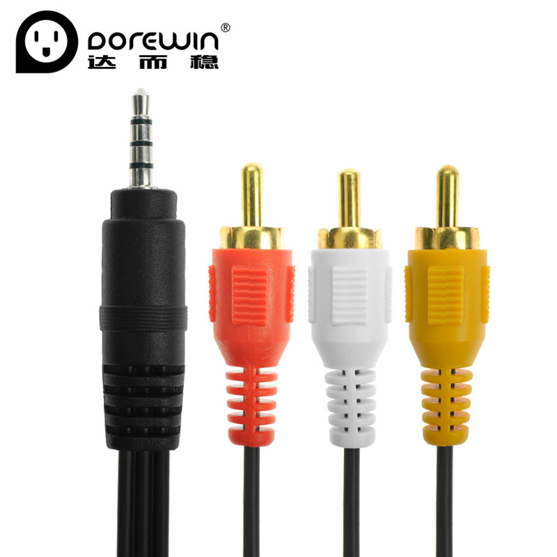 Dorewin 1.5M aux 3.5mm to 3 RCA Jack Male to Male AV Audio Cable for TV/DVD/CD/Computer/Sound speaker(China (Mainland))