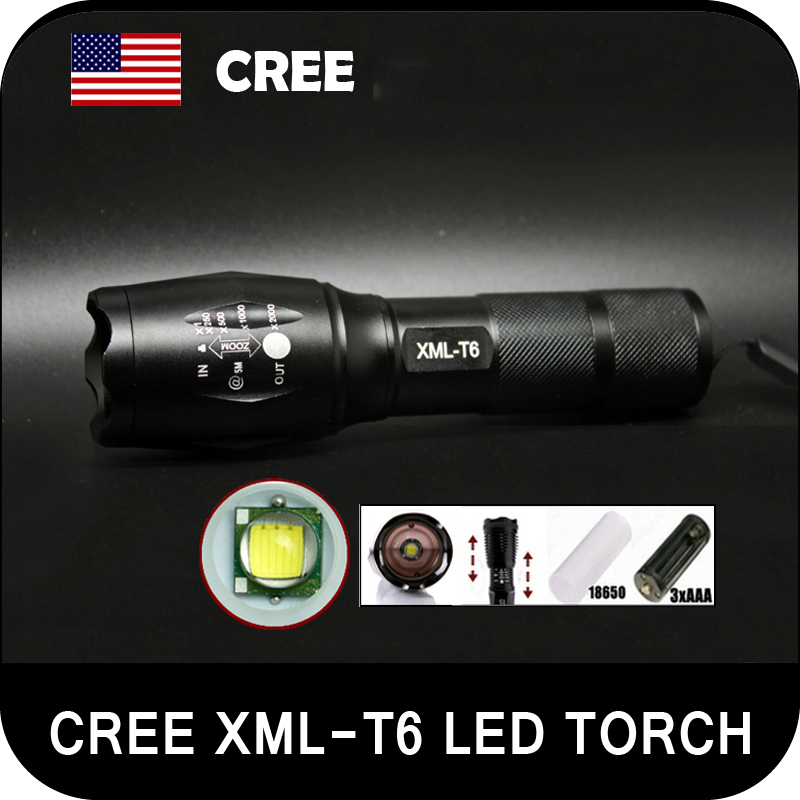LED Torch Light Zoomable CREE 2000LM XM-L T6 Aluminum Flashlight Lamp Hiking Biking Camping Lighting For 3XAAA or 18650 Battery(China (Mainland))