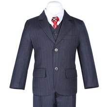 Fashion Deep Navy Blue Stripes Boys Formal Suits Weddings Children Dress Suits For Italian Boys(China (Mainland))