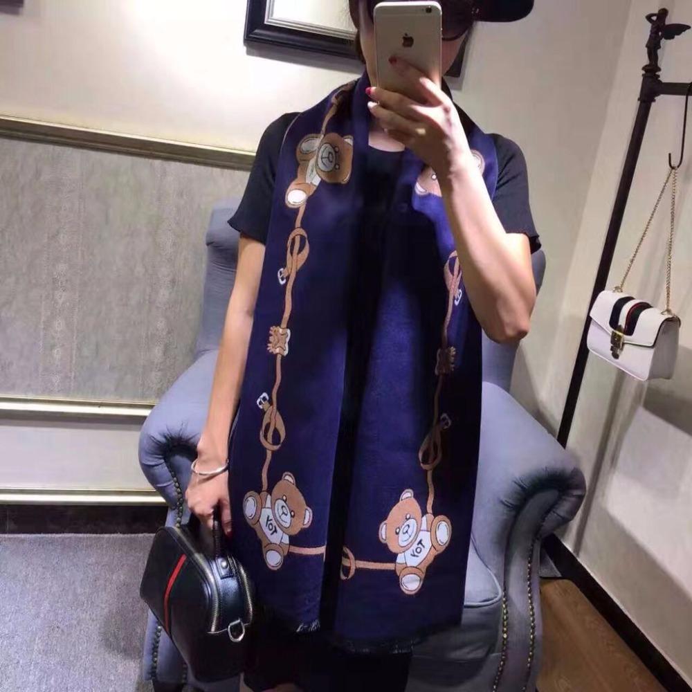 [Jinjin.QC] 2017 Fashion Winter Toy Bear Cashmere Scarf Women Shawls Brand Luxury UK Flag Printed Cashmere Female Thicken Scarf(China (Mainland))
