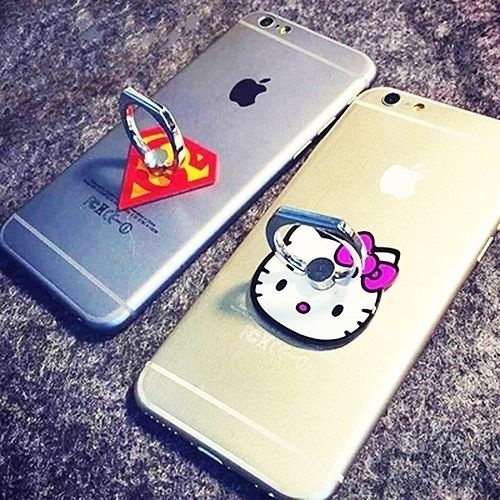 Super Man & Hellokitty Finger Ring holder Mobile Phone Smartphone car phone Holder For iPhone ipad GPS MP3 Car Mount Stand(China (Mainland))