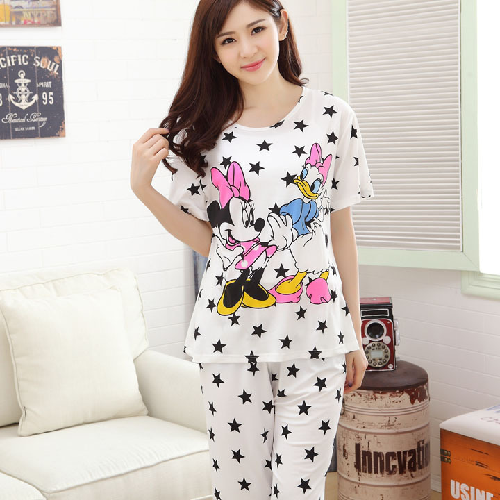 2015 New Arrival Character Knitted Short Round Neck Contrast Color Pajama Sets Pijama Feminino Summer Style Women Pajamas(China (Mainland))