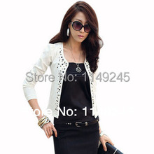 New 2015 black and white leisure short coat jackets with rivets outerwear for women suit jacket