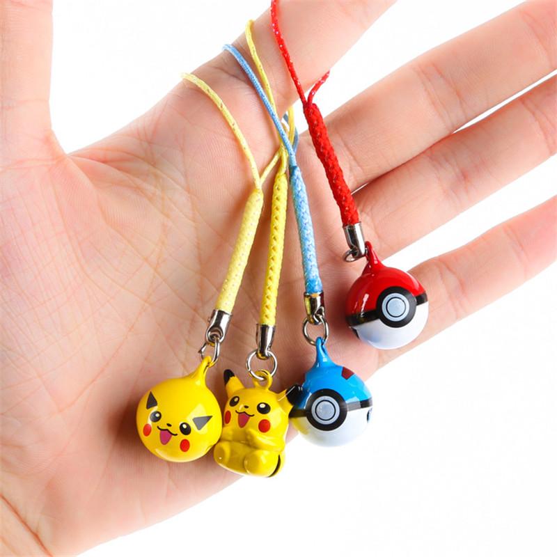 1PCS Cartoon Pokemon Pikachu Elf Ball Cell Phone Strap JINGLE BELLS Dangle Charms Key chains Trendy Children Gifts(China (Mainland))