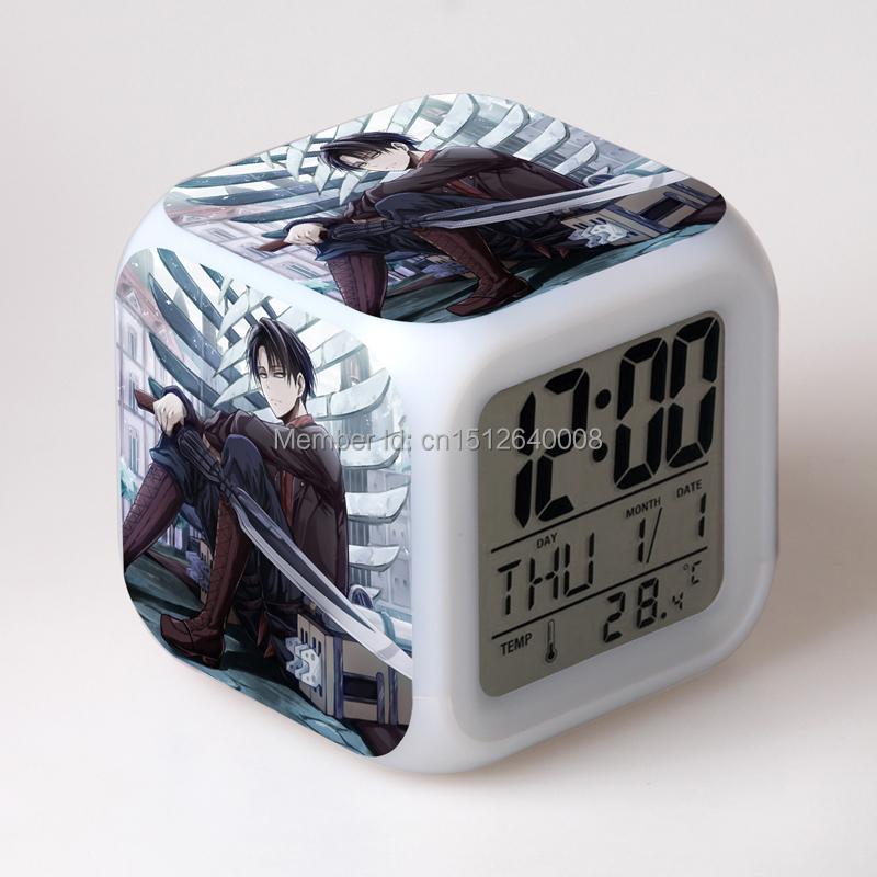 clock's projection popular thermometer clock growing LED 7 colorful light change cartoon Shingeki no Kyojin style clocks(China (Mainland))