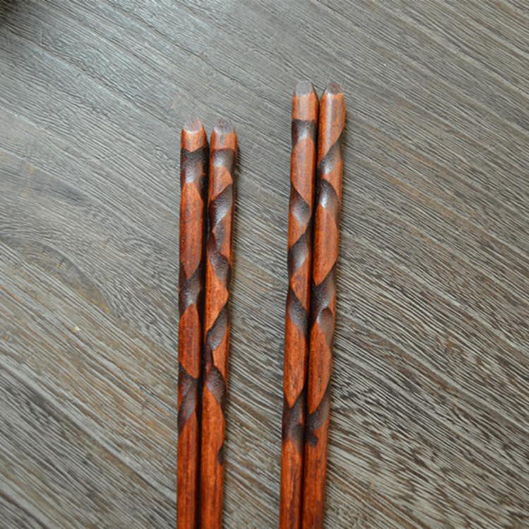 1 pair Hand carved spiral chopsticks pointed end chopsticks(China (Mainland))