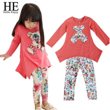 New 2016 Casual clothes Hot sales Autumn baby girl dress long sleeve T-shirt + Flower Legging Clothing Set children clothing(China (Mainland))