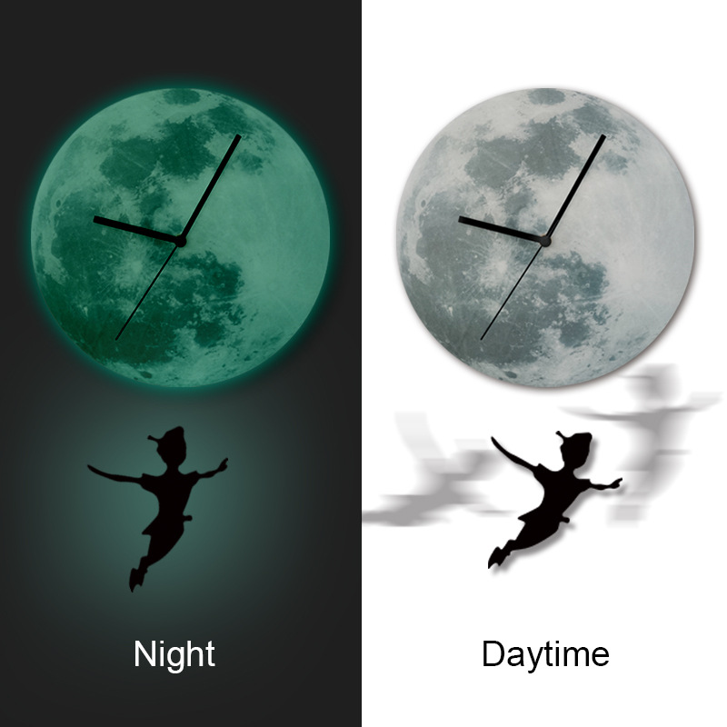3D Peter Pan boys and girls kids room Luminous LED pendulum wall clock Acrylic Moon stickers bedroom living room wall stickers(China (Mainland))