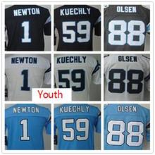 Youth Kids stitched jerseys,1 Newton 13 Benjamin 88 Olsen 59 Kuechly Jerseys,Size S-XL,Best Quality,Authentic Jersey(China (Mainland))