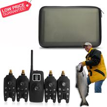 Set Wireless Blue LED Fishing Bite Alarms Receiver Carp Black speakers 6F22 9V Plastic Alarm Bag Case - Bela Vida store