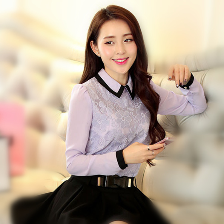 Autumn Women Tops And Blouses 2015 New Fashion New Korean Style Chiffon Blouse Stitching Slim