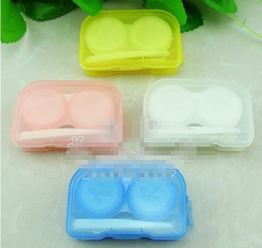 10piece/lot Cute Candy Color Mini Portable Glasses Case Contact Lenses Cases S2543(China (Mainland))