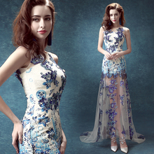 2015 Blue and white porcelain cheongsam chiffon dress lace applique dress beautiful lady dress long section(China (Mainland))