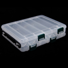 New 10 Compartments Plastic Fishing Lure Tackle Box Double Sided High Strength Transparent Visible with Drain Hole 20*17*4.7cm(China (Mainland))