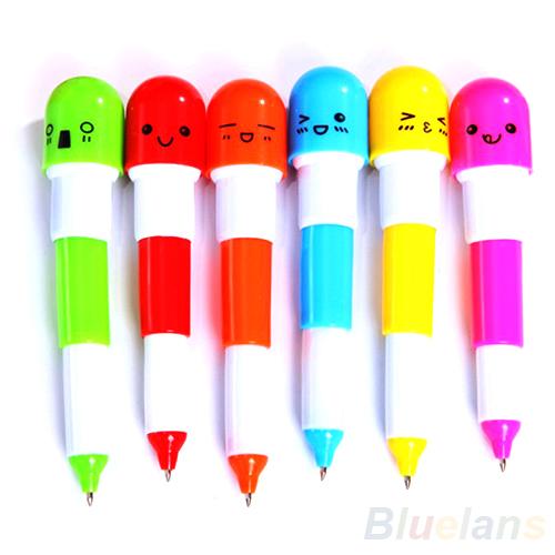 6PCS Cute Smiling Face Pill Ball Point Pen Pencils Telescopic Vitamin Capsule Ballpen for School Use 08PC(China (Mainland))