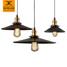 Loft RH Industrial Warehouse Pendant Lights American Country Lamps Vintage Lighting for Restaurant/Bedroom Home Decoration Black(China (Mainland))