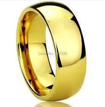 Never fading Classic Wedding rings 8mm 24K yellow Gold filled 316L Titanium steel rings for men and women jewelry Size 6-13