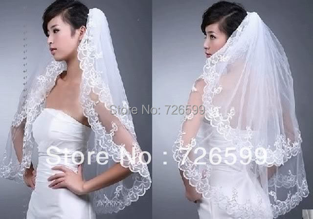 Free shipping Best New 2T White/Ivory Lace edge Wedding Dream Bride Veil Comb with Bridal Accessories(China (Mainland))