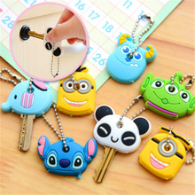 Novelty Kawaii Cute Cartoon Animal Minions Silicone Key Caps Covers Phone Accessories Keychain Case Shell
