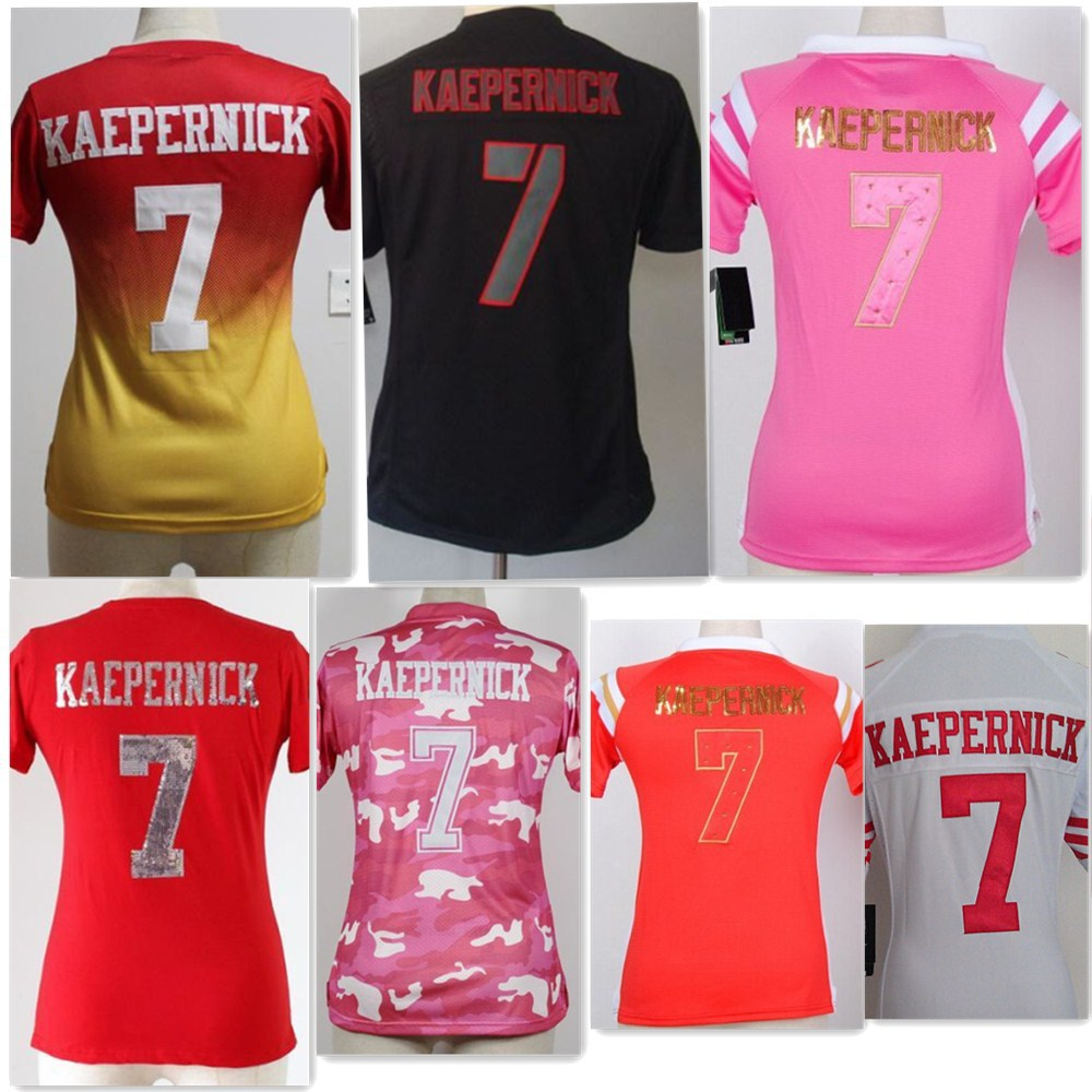 Stitched#7 Colin Kaepernick jersey women authentic 2015 american football jersey women 49er jersey throwback custom black camo(China (Mainland))
