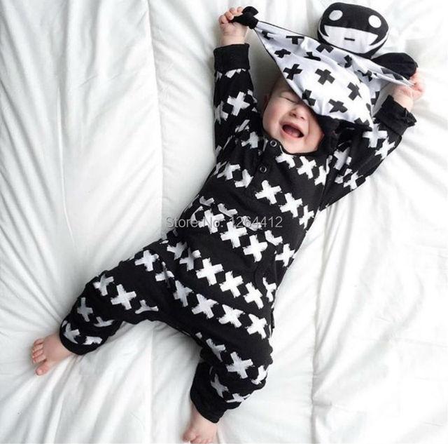 2016 Новая Мода Детская одежда Мальчик Гриль Ползунки хлопка с длинными рукавами ...