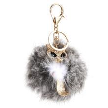 Chaveiro Bonito Chaveiro coelho Pele Bola Pompom Fofo Fox Charme Saco Keychain de Cristal Chaveiro Carro de Metal(China)
