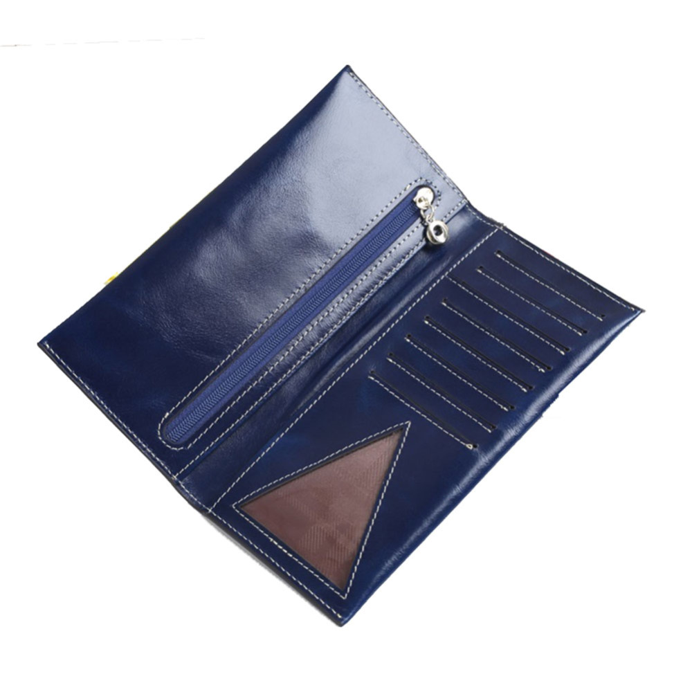 2017 High Quality Oil Waxy Female Wallet Purse Genuine Leather Italian Leather Slim Long Wallet Money Bag Card Holer Zipper Coin(China (Mainland))